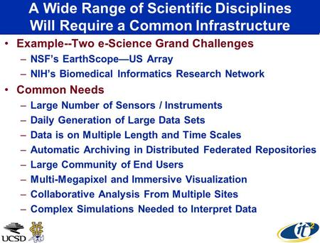 A Wide Range of Scientific Disciplines Will Require a Common Infrastructure Example--Two e-Science Grand Challenges –NSF's EarthScope—US Array –NIH's Biomedical.