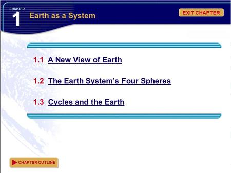 CHAPTER 1.1 A New View of Earth 1.2 The Earth System's Four Spheres 1.3 Cycles and the Earth CHAPTER OUTLINE Earth as a System EXIT CHAPTER.