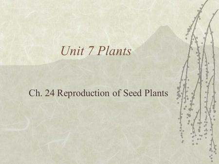Unit 7 Plants Ch. 24 Reproduction of Seed Plants.