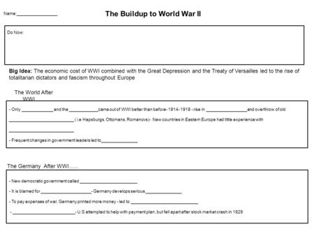 Name:_________________ The Buildup to World War II Do Now: Big Idea: The economic cost of WWI combined with the Great Depression and the Treaty of Versailles.