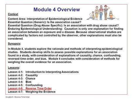 DrugEpi 6 - Reverse Time Order Module 4 Overview Context Content Area: Interpretation of Epidemiological Evidence Essential Question (Generic): Is the.