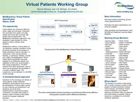 MedBiquitous Virtual Patient Specification Status: Draft The opportunity Virtual patients are notoriously difficult to author, adapt and exchange. Historically.