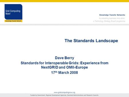 Accelerating business innovation; a Technology Strategy Board programme www.gridcomputingnow.org The Standards Landscape Dave Berry Standards for Interoperable.