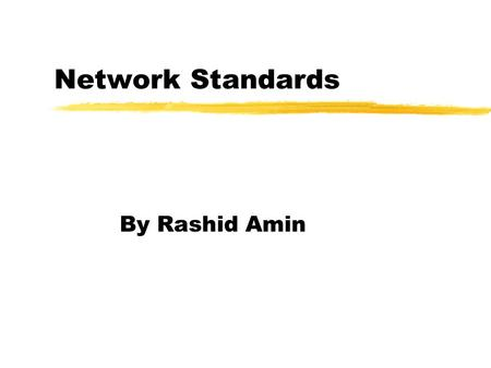 "Network Standards By Rashid Amin. ""A standard provides a model for development that makes it possible for a product to work regardless of the individual."