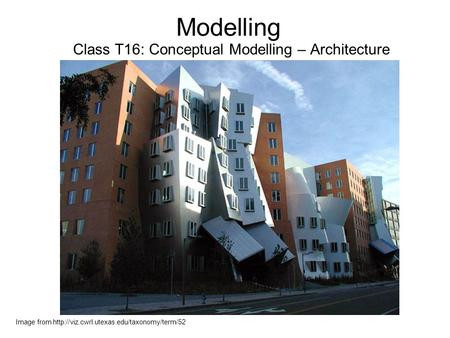 Modelling Class T16: Conceptual Modelling – Architecture Image from