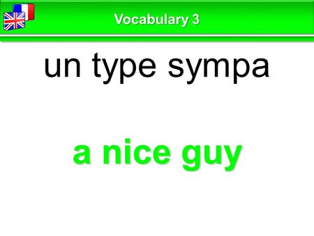 A nice guy un type sympa Vocabulary 3. be open-handed avoir le cœur sur la main Vocabulary 3.