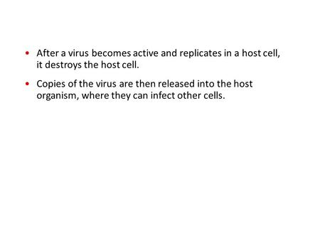 After a virus becomes active and replicates in a host cell, it destroys the host cell. Copies of the virus are then released into the host organism, where.