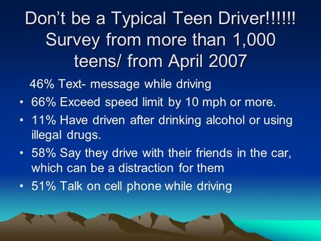 Don't be a Typical Teen Driver!!!!!! Survey from more than 1,000 teens/ from April 2007 46% Text- message while driving 66% Exceed speed limit by 10 mph.