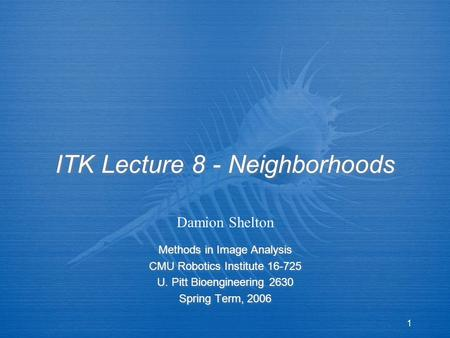 1 ITK Lecture 8 - Neighborhoods Methods in Image Analysis CMU Robotics Institute 16-725 U. Pitt Bioengineering 2630 Spring Term, 2006 Methods in Image.