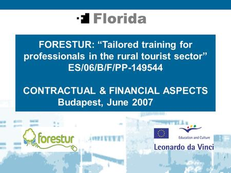 "FORESTUR: ""Tailored training for professionals in the rural tourist sector"" ES/06/B/F/PP-149544 CONTRACTUAL & FINANCIAL ASPECTS Budapest, June 2007."