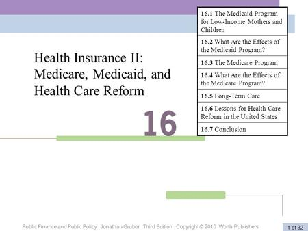 Public Finance and Public Policy Jonathan Gruber Third Edition Copyright © 2010 Worth Publishers 1 of 32 Health Insurance II: Medicare, Medicaid, and Health.