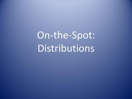 On-the-Spot: Distributions. Objectives To be capable of organizing a transparent, participatory, equitable relief distribution. To practice organizing.