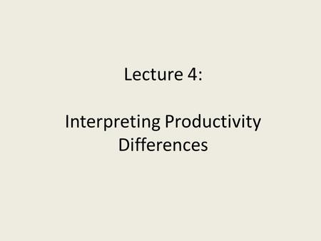 Lecture 4: Interpreting Productivity Differences.