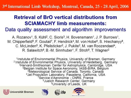 3 rd International Limb Workshop, Montreal, Canada, 25 - 28 April, 2006 Retrieval of BrO vertical distributions from SCIAMACHY limb measurements: Data.