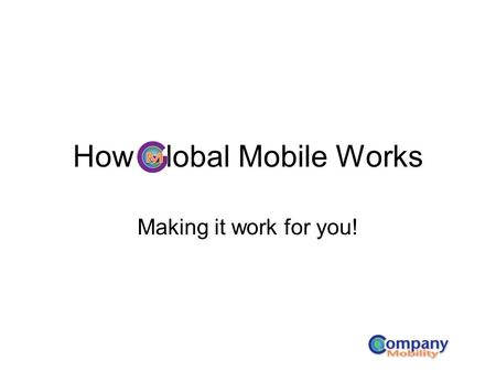 How Global Mobile Works Making it work for you!. This is Global Mobile on your BlackBerry desktop.