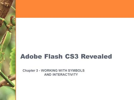 Adobe Flash CS3 Revealed Chapter 3 - WORKING WITH SYMBOLS AND INTERACTIVITY.
