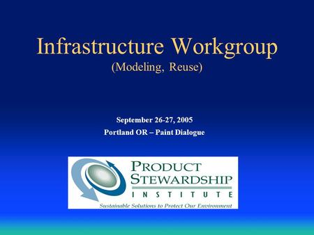 Infrastructure Workgroup (Modeling, Reuse) September 26-27, 2005 Portland OR – Paint Dialogue.