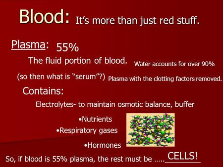 "Blood: It's more than just red stuff. Plasma: 55% The fluid portion of blood. Water accounts for over 90% (so then what is ""serum""?) Plasma with the clotting."
