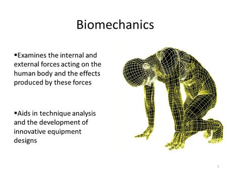 1 Biomechanics  Examines the internal and external forces acting on the human body and the effects produced by these forces  Aids in technique analysis.