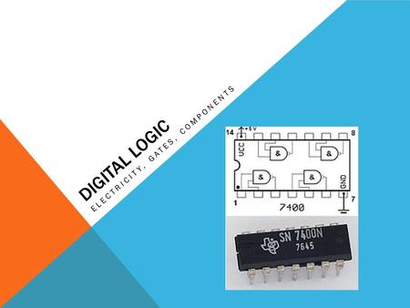 DIGITAL LOGIC ELECTRICITY, GATES, COMPONENTS. DIGITAL LOGIC READING: APPENDIX C THROUGH C.3 The Student shall be able to: Define voltage, current, resistance,