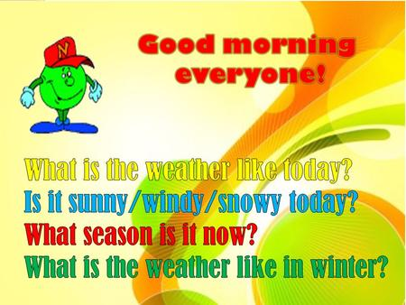 learn new vocabulary; learn how to talk about the weather; practice our listening and speaking skills; learn what is the weather like in different countries.