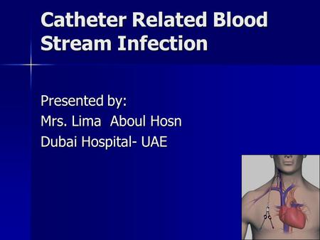 Catheter Related Blood Stream Infection Presented by: Mrs. Lima Aboul Hosn Dubai Hospital- UAE.
