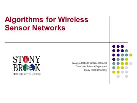 Algorithms for Wireless Sensor Networks Marcela Boboila, George Iordache Computer Science Department Stony Brook University.