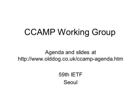 CCAMP Working Group Agenda and slides at  59th IETF Seoul.
