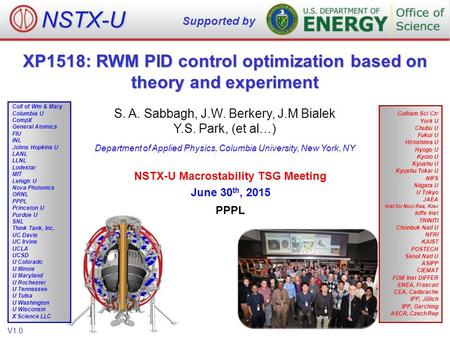 XP1518: RWM PID control optimization based on theory and experiment S. A. Sabbagh, J.W. Berkery, J.M Bialek Y.S. Park, (et al…) Department of Applied Physics,