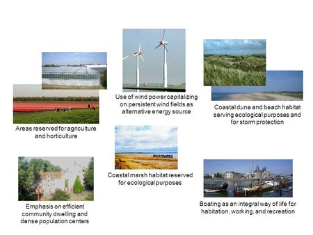 Use of wind power capitalizing on persistent wind fields as alternative energy source Coastal dune and beach habitat serving ecological purposes and for.