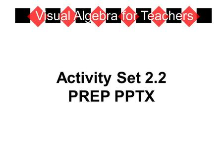 Activity Set 2.2 PREP PPTX Visual Algebra for Teachers.