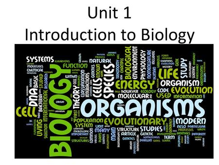 Unit 1 Introduction to Biology. Know all lab safety rules.