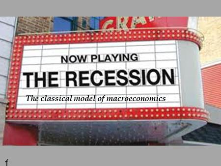 1 1 The classical model of macroeconomics. 2 Economics 122a Fall 2010 Agenda for this week: 1. The classical macro model (Chap 3) 2. How economists measure.