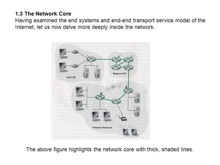 1.3 The <strong>Network</strong> Core Having examined the end systems and end-end transport service model of the Internet, let us now delve more deeply inside the <strong>network</strong>.