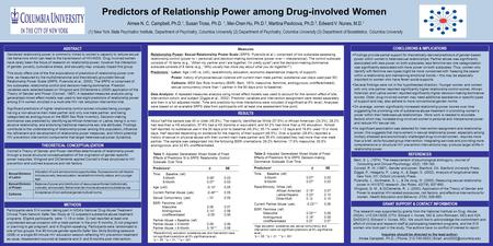 Predictors of Relationship Power among Drug-involved Women Aimee N. C. Campbell, Ph.D. 1, Susan Tross, Ph.D. 1, Mei-Chen Hu, Ph.D. 2, Martina Pavlicova,