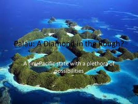 Palau: A Diamond in the Rough? A tiny Pacific state with a plethora of possibilities.