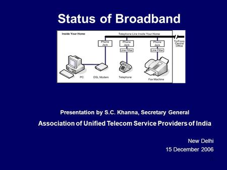 1 Status of Broadband New Delhi 15 December 2006 Presentation by S.C. Khanna, Secretary General Association of Unified Telecom Service Providers of India.