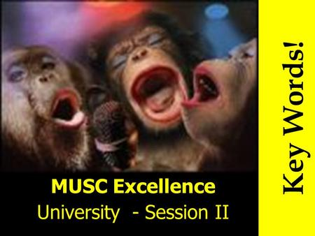 MUSC Excellence University - Session II Key Words!