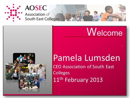 W elcome. Pamela Lumsden CEO Association of South East Colleges 11 th February 2013.
