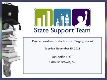 1 Postsecondary Stakeholder Engagement Tuesday, November 15, 2011 Jan Keihne, CT Camille Brown, SC.