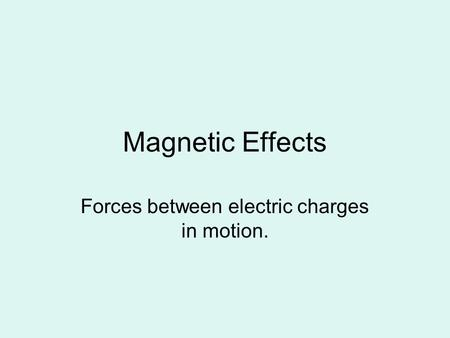 Forces between electric charges in motion.