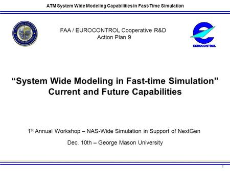 1 ATM System Wide Modeling Capabilities in Fast-Time Simulation 1 st Annual Workshop – NAS-Wide Simulation in Support of NextGen Dec. 10th – George Mason.