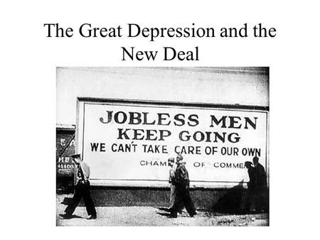The Great Depression and the New Deal. The Great Depression: Economic Weakness Low Wages Overproduction Oligopoly Weak Industries Over-Extended Banks.
