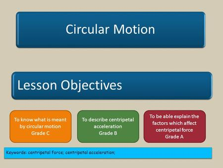 Lesson Objectives Circular Motion Keywords: centripetal force; centripetal acceleration; To know what is meant by circular motion Grade C To describe centripetal.