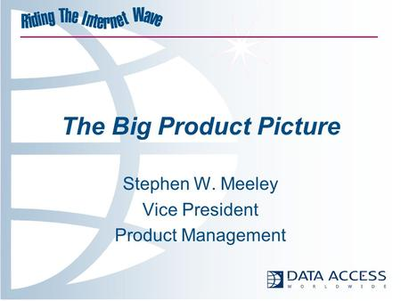 The Big Product Picture Stephen W. Meeley Vice President Product Management.