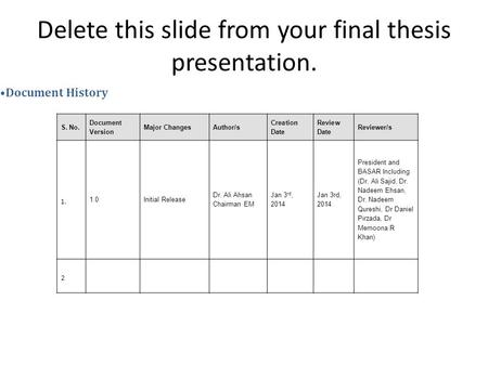 Delete this slide from your final thesis presentation. S. No. Document Version Major ChangesAuthor/s Creation Date Review Date Reviewer/s 1. 1.0Initial.