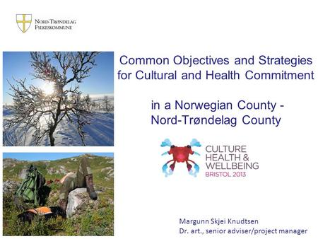 Common Objectives and Strategies for Cultural and Health Commitment in a Norwegian County - Nord-Trøndelag County Margunn Skjei Knudtsen Dr. art., senior.