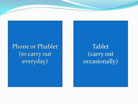 Tablet (carry out occasionally) Phone or Phablet Phone or Phablet (to carry out everyday) (to carry out everyday)