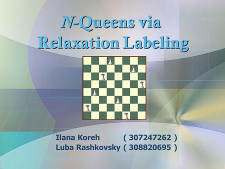 1 N -Queens via Relaxation Labeling Ilana Koreh ( 307247262 ) Luba Rashkovsky ( 308820695 )