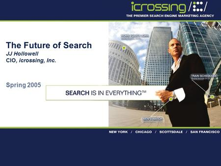 Proprietary & confidential 1 The Future of Search JJ Hollowell CIO, icrossing, Inc. Spring 2005.